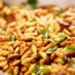 Fried silk worm larvae - 图库照片