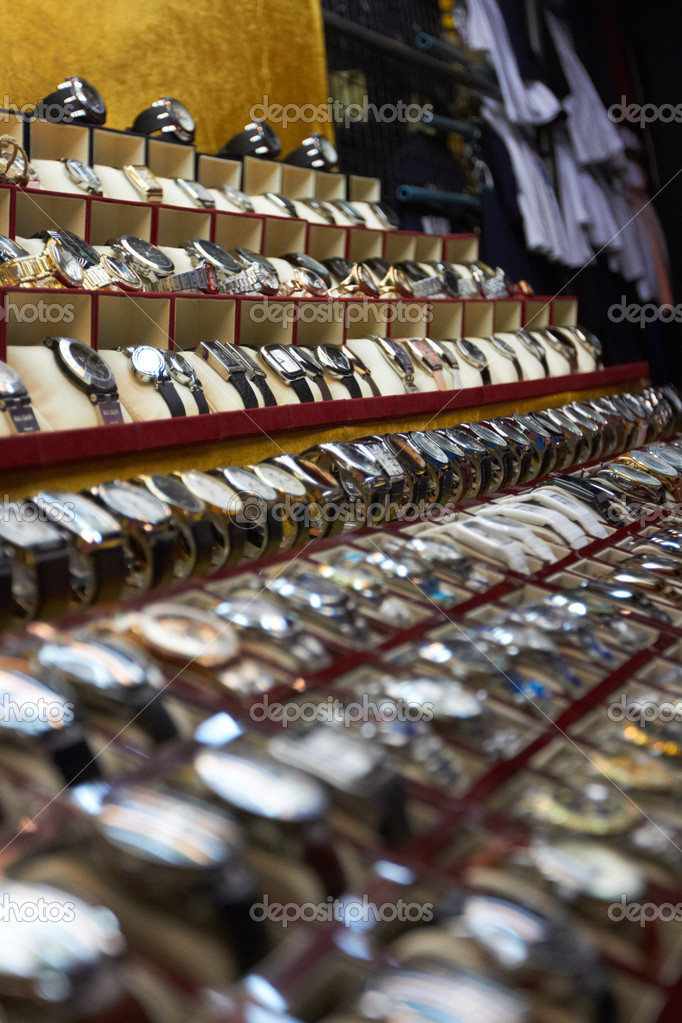 Rows of wristwatches on display at a Thai shop  Stock Photo #12241486