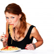 Pasta is hard to eat with grace - Foto Stock