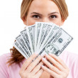 Fanning out her fifties - Money Issues - ストック写真