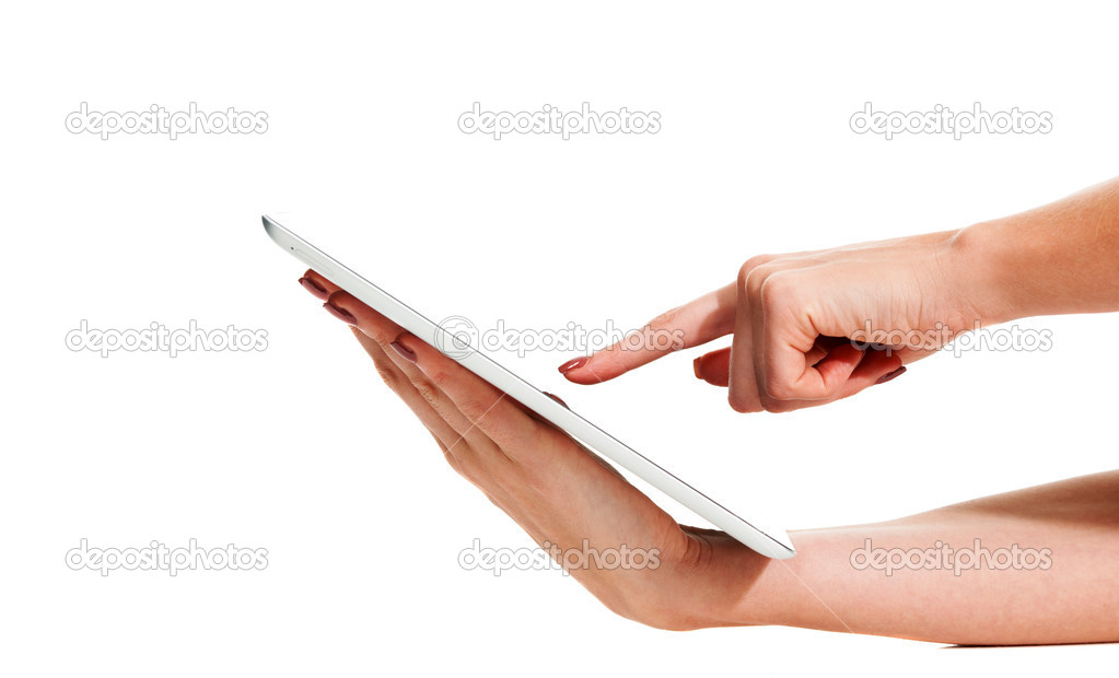 Closeup of a young woman holding a touch sensitive digital tablet — Stock Photo #12303074