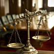 Decorative Scales of Justice in the Courtroom — Stock Photo #10911089