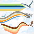 Birds flying colorful banners in the sky — Stock Vector