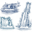 Water falls vector drawing — Stock Vector