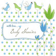 Cute baby shower, flowers and birds — Stock Vector