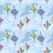 Kites over blue sky seamless pattern - Stok Vektör