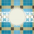 Textile background, white lace frame - Stok Vektr