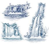 Water falls vector drawing — Stock Vector