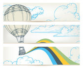 Hot air balloon over sky vector banners — Stock Vector