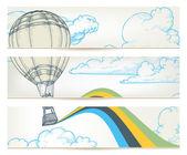 Hot air balloon over sky vector banners — Stock Vector