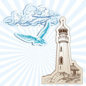 Lighthouse and sky background — Stock Vector