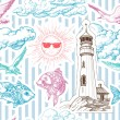Summer seamless pattern with marine elements — ストックベクタ
