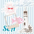 Vacation at sea background, marine elements — Stock Vector