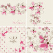 Stockvektor : Vector floral cards and seamless patterns