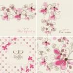 Vector floral Karten und nahtlose Muster — Stockvektor