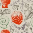 Stok Vektör: Sea shells retro seamless pattern