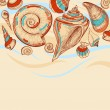 Beach vector background with sea shells — Imagens vectoriais em stock