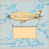 飞艇在蓝蓝的天空飞行横幅文本 — 图库矢量图片