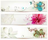 Banners florales en estilo retro — Vector de stock