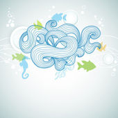 Abstract sea waves and marine life background — Stock Vector
