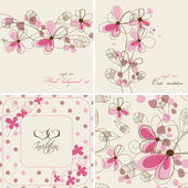 Vector floral cards and seamless patterns — Stock Vector