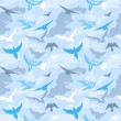 Stock Vector: Birds flying in the sky seamless pattern