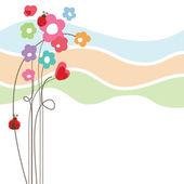 Cute floral love card — Stock Vector