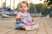 Baby on seafront — Stock Photo
