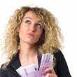 Business woman counts money and dreaming — Stock Photo #12137036