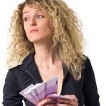 Business woman counts money sad — Stock Photo #12137042