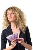 Business woman counts money sad — Stock Photo