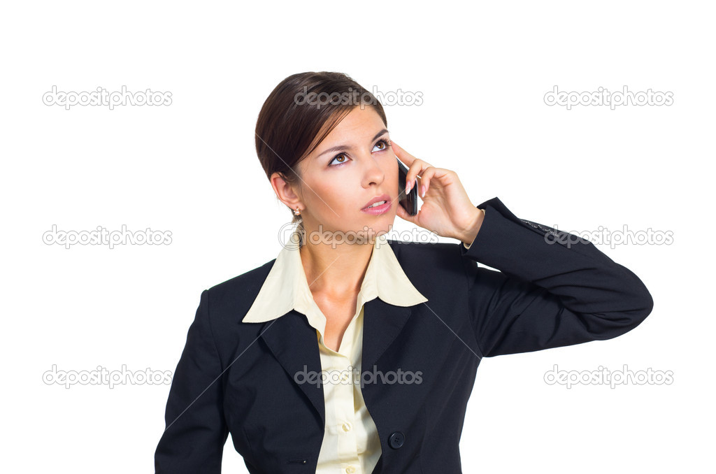 Attractive young brunette businesswoman talking on the phone. Isolated against white background. — Stock Photo #12137019