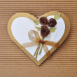 Handmade paper card love heart shape — Stock Photo