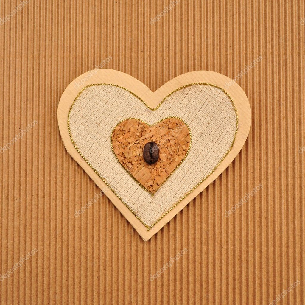 Love heart shape paper card or menu book cover. Handmade using brown, beige and tan paper. — Stock Photo #11085750