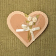 Handmade paper gift or invitaion card love heart — Stock Photo