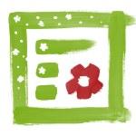 Green frame border brush paint handdrawn design — Stock Photo