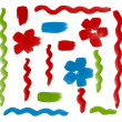 Stock Photo: Brush paint handdrawn Wave Lines and Flowers design elements