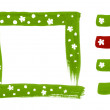 Stock Photo: Frame border handdrawn design set with flowers and web button icons