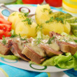 Pork tongue in horse radish and dill sauce — Stock Photo #11044671