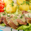 Pork tongue in horse radish and dill sauce — Stock Photo