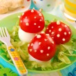 Fly agaric made from egg and tomato — Stockfoto #11044745