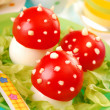 Fly agaric made from egg and tomato — Stock Photo #11044765