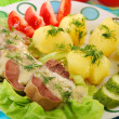 Pork tongue in horse radish and dill sauce — Stock Photo #11044855