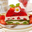 Stock Photo: Strawberry and kiwi jelly cake