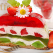 Strawberry and kiwi jelly cake — Stock Photo