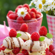 Stock Photo: Meringue cookies with raspberry