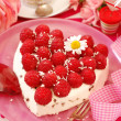 Raspberry cake in heart shape — Stock Photo #11583337