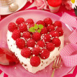 Raspberry cake in heart shape — Stock Photo #11583348