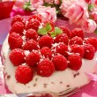 Raspberry cake in heart shape — Stock Photo #11583364