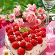 Raspberry cake in heart shape — Stock Photo